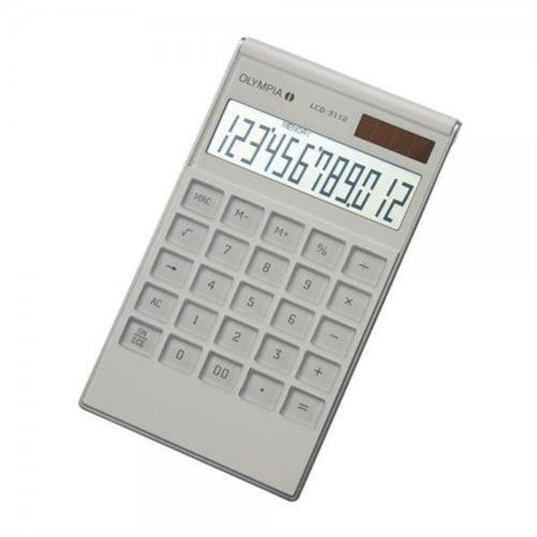 Olympia LCD-3112 Tischrechner weiß Acrylgehäuse 12-stelliges Display 941911001