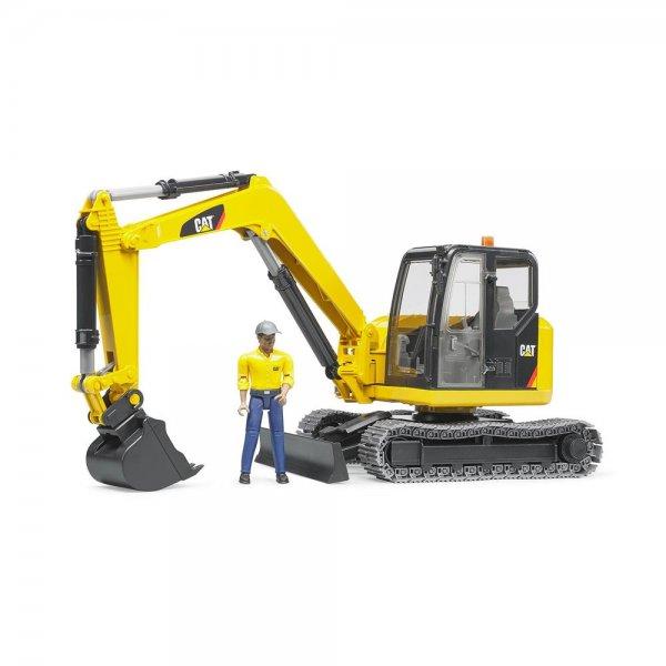 Bruder 02466 - Cat® Minibagger mit Bauarbeiter Baufahrzeug für Drinnen und Draußen | B-Ware