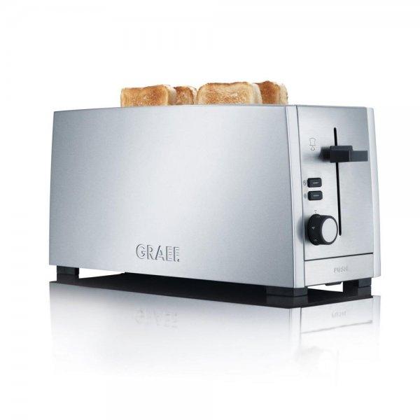 GRAEF 4 Scheiben Langschlitztoaster TO100 silber Toaster hochwertig Edelstahl wärmeisoliert
