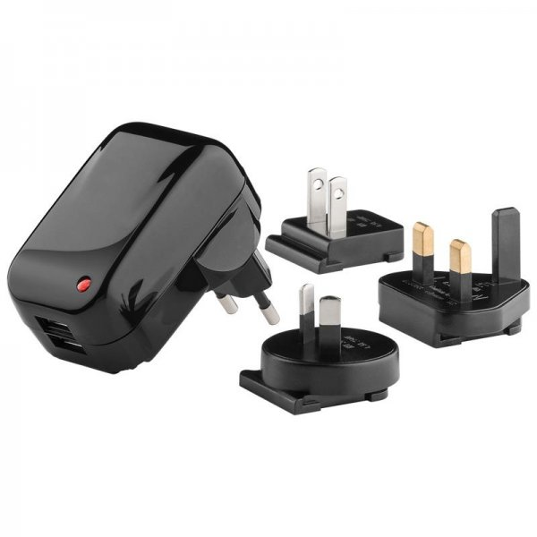 Goobay 43796 USB-Reise-Ladegerät 2.100 mA mit wechselbarem Adapter