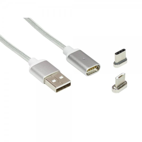 ZOIG magnetisches 2-in-1 Micro-B + USB-C (Type C) USB Ladekabel 1m silber KU05