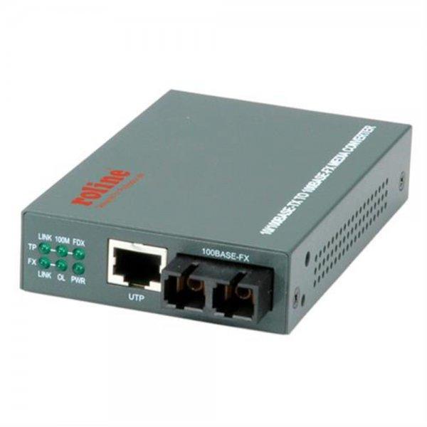 ROLINE Fast Ethernet Konverter RJ45 / SC Multimode Glasfaser mit Netzteil