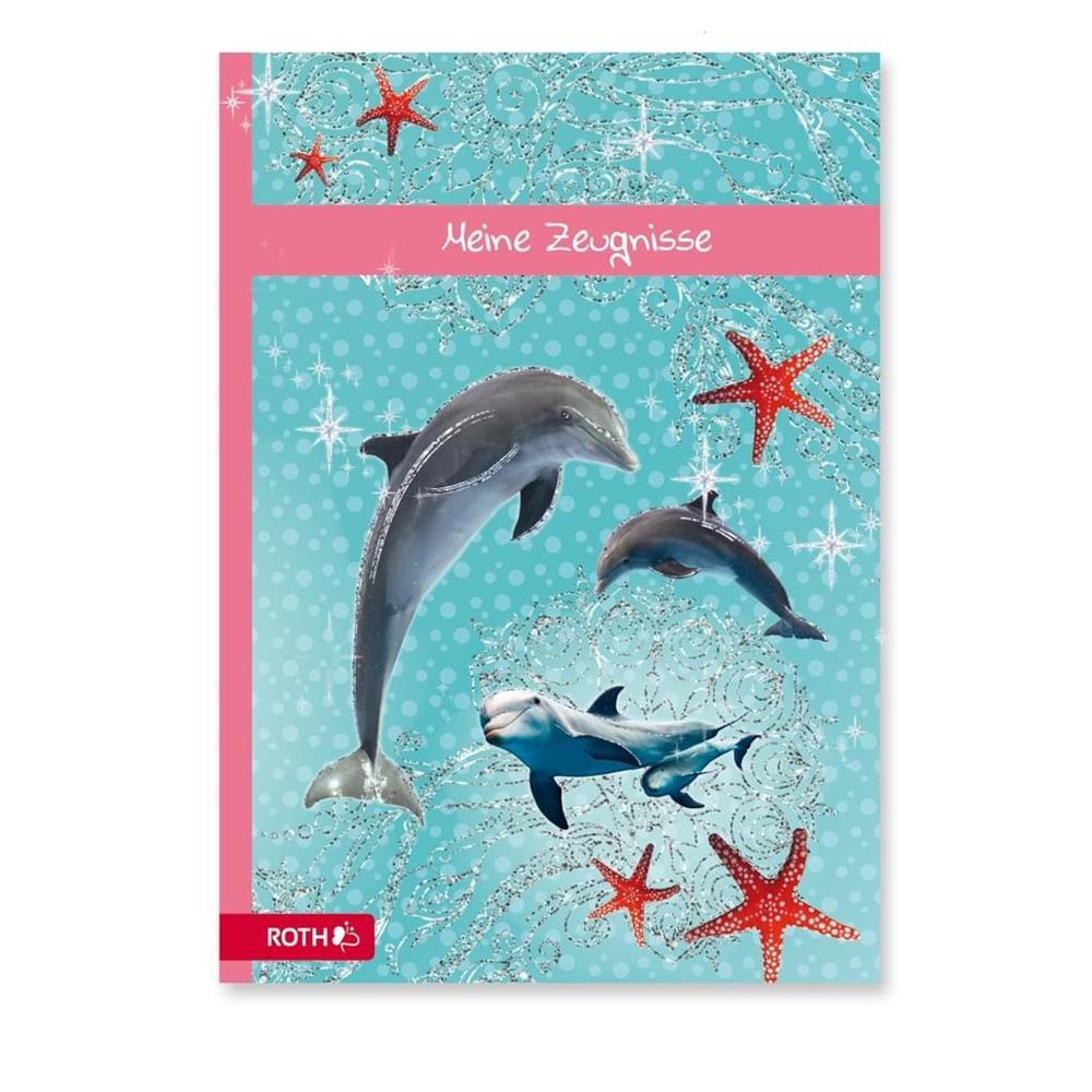 Roth Zeugnismappe A4 Delfin mit Glitzereffekt 10 Klarsichthüllen Zeugnisse