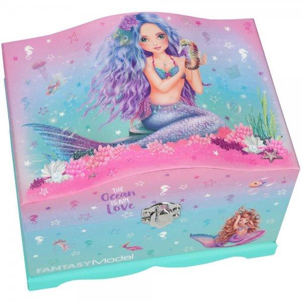 Depesche 10948 Schmuckschatulle Fantasy Model Mermaid mit Licht ca. 18,5 x 13,5 x 14 cm beleuchteter Spiegel