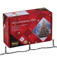 Idena 31224 LED Lichterkette mit 200 LED in bernsteinfarben Party Weihnachten Deko 27,9 m