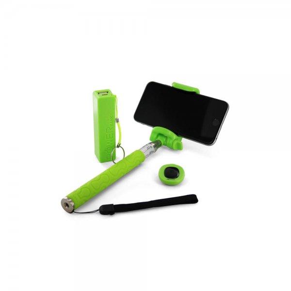 Xlayer Fun Bundle Bluetooth Selfie Stick ausziehbar + 2600mAh Powerbank Set Grün