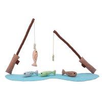 Bloomingville Angelspiel Angelrute mit Fisch Spielset Fische fangen 7-tlg Baumwolle dänisches Design