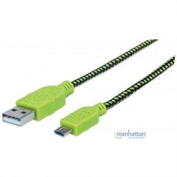 MANHATTAN Micro USB Kabel Stoff 1,8m schwarz grün