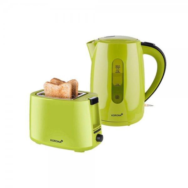 KORONA 2in1 Küchen-Set Frühstücks-Set 2-Scheiben-Toaster Wasserkocher 1,7L Grün