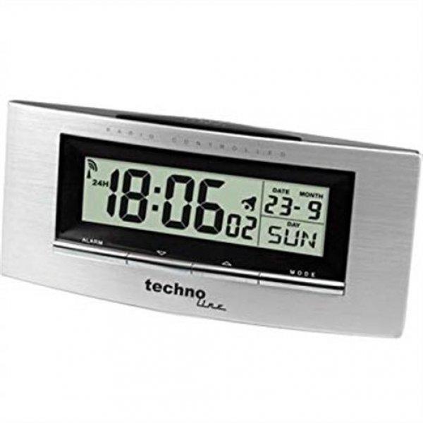 Technoline WT 182 Funkwecker Temperatur Datum Wochentag Anzeige Aluminium Optik