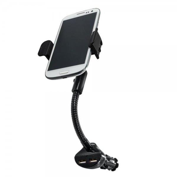 LogiLink PA0121 Smartphone Kfz-Halterung mit 2 USB Ladeanschlüssen 15,5W
