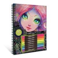 Nebulous Stars Malbuch mit schwarzen Seiten zum Ausmalen mit 8 Neon-Gelstiften Mädchen