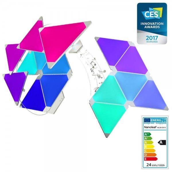 nanoleaf Light Panels Starter Kit + Rhythm | Modulares Design | 15 Pack | EU/UK | NL28-2010TW-15PK
