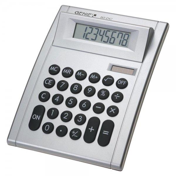 GENIE 50 DC 8-stelliger Tischrechner mit Dual-Power (Solar und Batterie) silber
