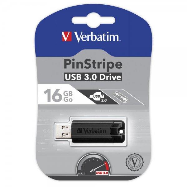 Verbatim (49316) High Speed USB Stick 3.0 Store n GO 16GB Schwarz Pin Stripe