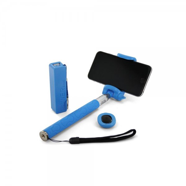 Xlayer Bluetooth Selfie Stick + 2600 mAh Powerbank Set Fun Bundle blau