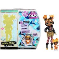 MGA L.O.L. Surprise! OMG Winter Chill Missy Meow Modepuppe & Baby Cat Puppe mit 25 Überraschungen