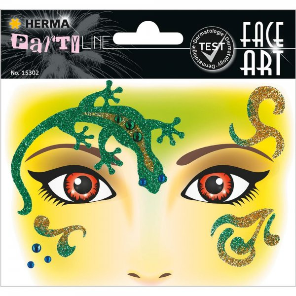 HERMA 15302 Face Art Sticker Gecko Body-Tattoo Gesicht-Maske Halloween Fasching Party
