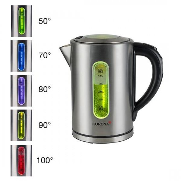 KORONA Wasserkocher Edelstahl 1,7 Liter 2200W Temperaturregler Warmhaltefunktion
