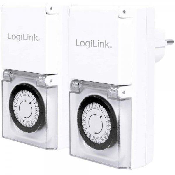 LogiLink ET0006A LogiLight Mechanische Zeitschaltuhr 2er Set IP44 Outdoor