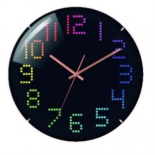 Technoline WT 7410 analoge Quarz-Wanduhr Ø 31 cm bunte farbige Ziffern schwarz groß Design LED Optik