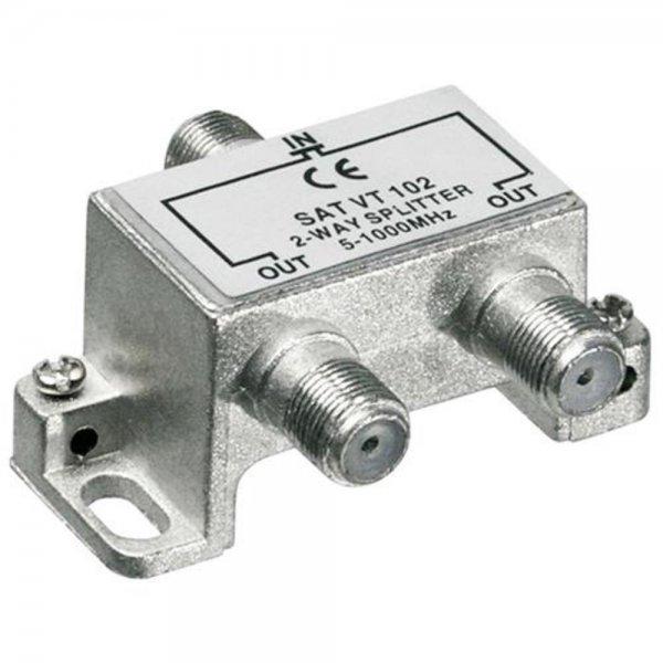 Wentronic SAT VT 102 BK-Verteiler 2-fach 5-1000 MHz # 67019