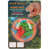 Depesche 7893 Krabbel Dinos aus Gummis Dino World 18 Stück klebrige Dinosaurier blau rot grün