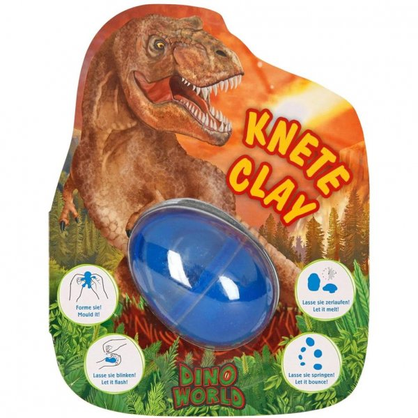 Depesche 6417 - Springknete Dino World im Ei mit Flashkugel Knete für Jungen blinkende Kugel im Inneren sortiert