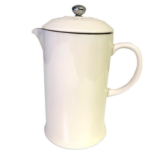 Le Creuset Steinzeug Kaffeekanne French Press Kaffeebereiter 0,8L mandel