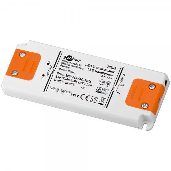 Goobay SET CC 700-12 LED-Transformator 700 mA 0,5 - 12 Watt SELV Class I # 30602