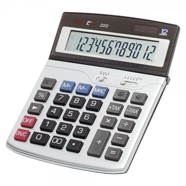 GENIE 222 12-stelliger Business-Tischrechner mit Dual-Power Solar und Batterie