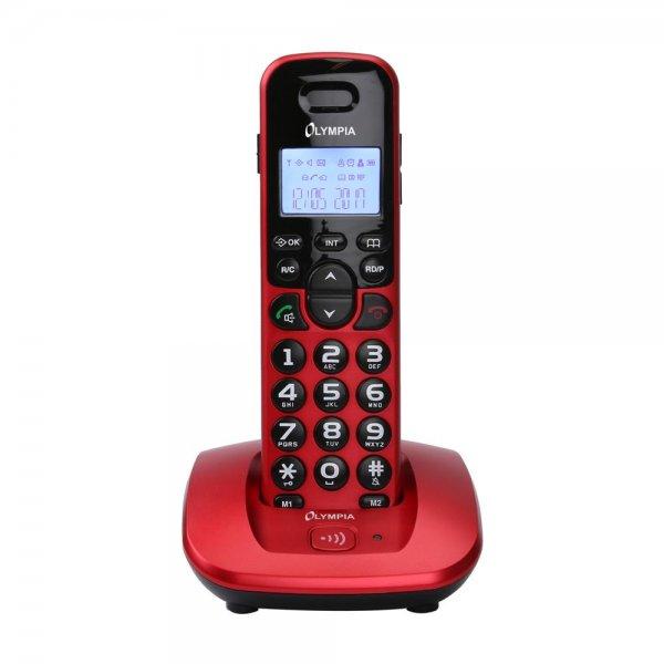 Olympia DECT 5000 Schnurloses Telefon große Tasten Hörgerätekompatibel Rot kabellos LCD Display