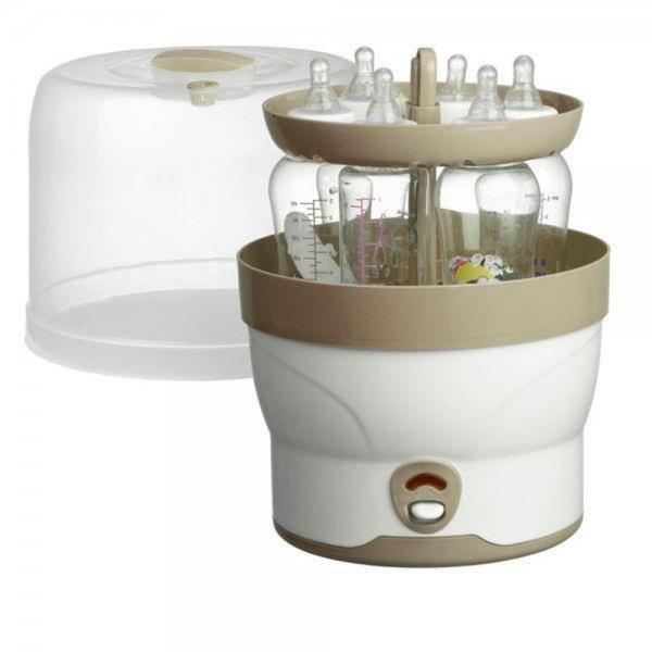 H+H BS 29 Elektronischer Dampf-Sterilisator 6 Babyflaschen Fläschchen Sterilisator 1m Beige 11min