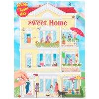 """Depesche 11415 - Malbuch """"Create your Sweet Home"""" mit Stickern ca. 30 x 22 x 0,5 cm groß mit 24 bunt illustrierten Seiten"""