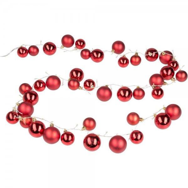 Idena Lichterkette Girlande mit 40 roten Weihnachtskugeln und 80 LED in warm weiß