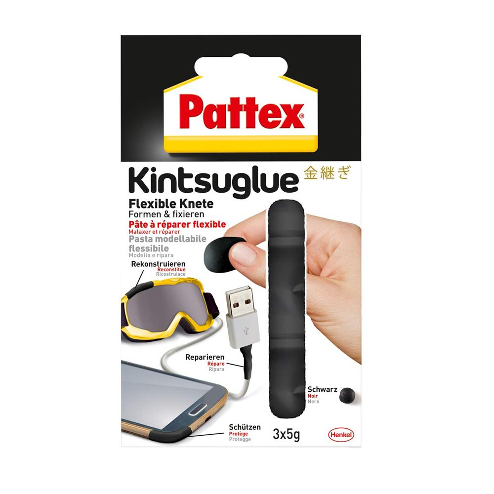 Pattex Kintsuglue Flexible Knete schwarz 3x5g Klebepaste formbar Reparieren