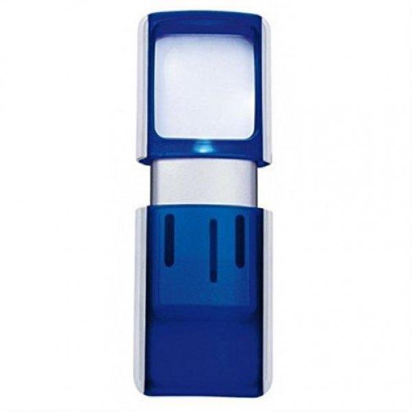 WEDO Lupe eckig mit LED Beleuchtung inkl.Batterie blau
