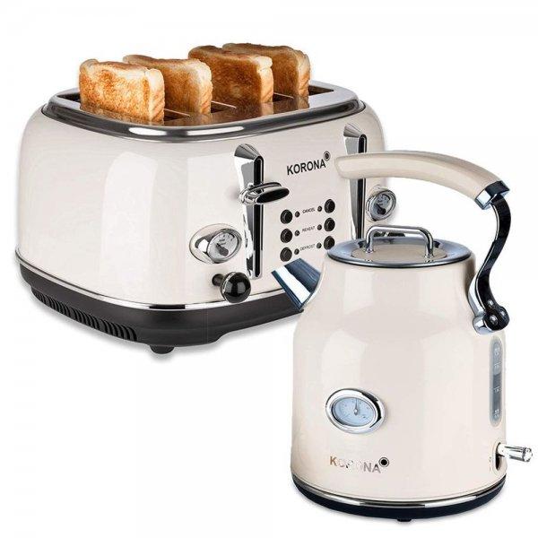 KORONA Retro-Optik Design 4 Scheiben Toaster + Wasserkocher