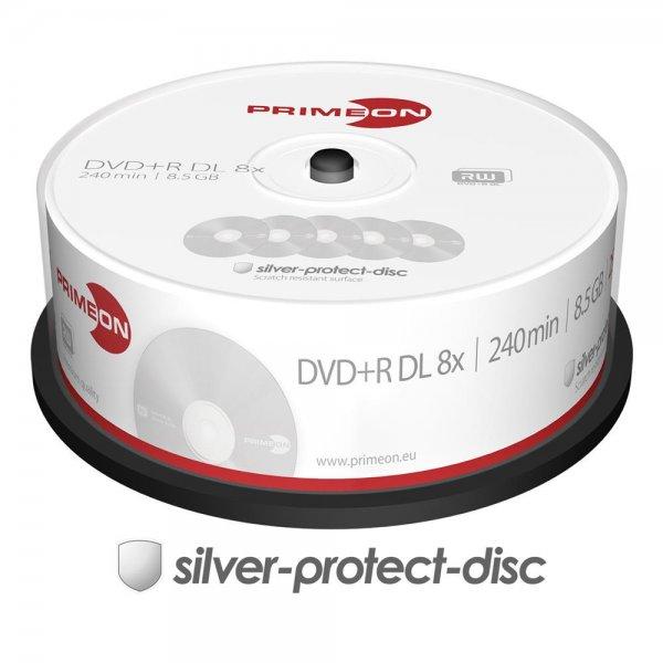 25x Top DVD+R Rohlinge Dual Layer DL 8.5GB 240Min 8x Spindel kratzfest