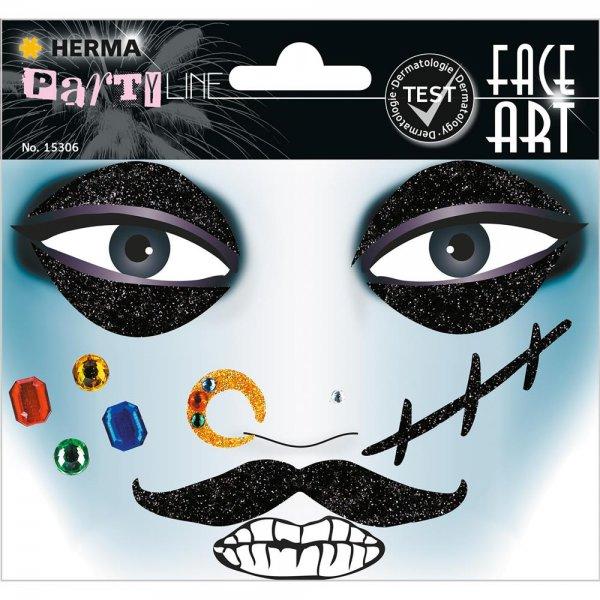 HERMA 15306 Face Art Sticker Pirat Body-Tattoo Gesicht-Maske Halloween Fasching Party