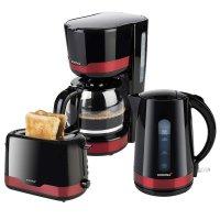 KORONA Küchenset / Frühstücksset Design Rot/Schwarz Kaffeemaschine, Toaster, Wasserkocher