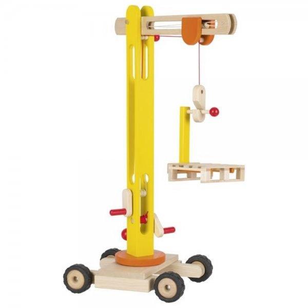 Goki Drehkran Baustelle Kran Holzspielzeug Kinder Holz Spielzeug Kleinkind Baufahrzeug