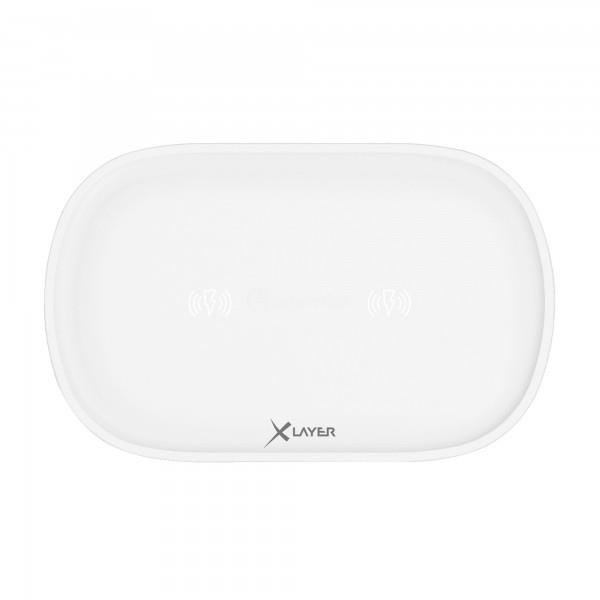 XLayer Ladegerät Wireless Charging Pad Family Double White Smartphones/Tablets