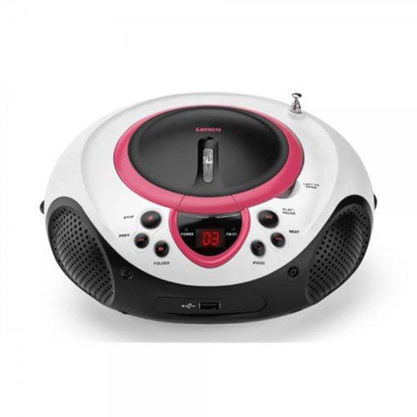 Lenco SCD-38 USB - Tragbares Stereoradio - Radio / CD / # SCD-38 USB Rosa