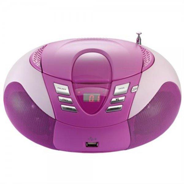 Lenco SCD-37 USB (pink) - Tragbares UKW-Radio mit CD-Pl # SCD37PINK