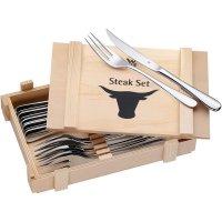 WMF Steakbesteck 12-teilig Cromagan Edelstahl Holzkiste Steak-Messer Gabel