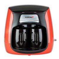 KORONA Mini Kaffeemaschine 1-2 Tassen Kaffeeautomat Filterkaffee-Automat rot / schwarz inkl 2 Tassen