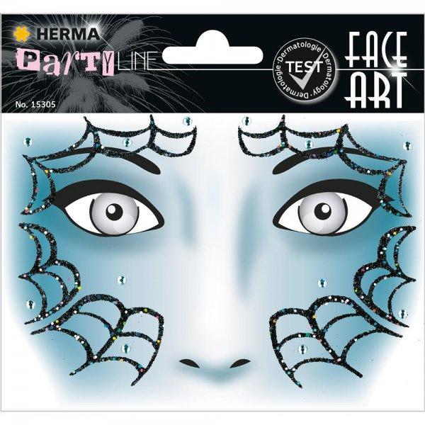 HERMA 15305 Face Art Sticker Spider Body-Tattoo Gesicht-Maske Halloween Fasching Party