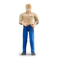Bruder 60006 bworld - Mann, blond mit blauer Hose Spiel-Figur Spielzeug NEU