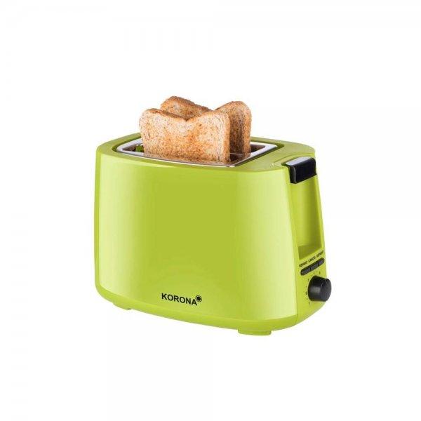 KORONA 2-Scheiben-Toaster Grün Brötchenaufsatz Auftaufunktion Aufwärmen 750W